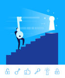 Vector illustration of teamwork. Businessman go to the door with a key Royalty Free Stock Photography