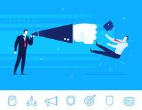 Vector illustration of teamwork. Businessman knockout Stock Images