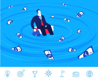 Vector illustration of teamwork. Businessman and lifebuoy Royalty Free Stock Photo