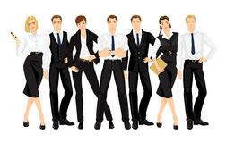 Vector illustration of teamwork. Man and woman in official black suits isolated on white background. Group of business people in different pose Royalty Free Stock Image