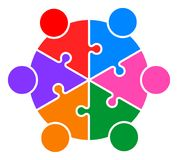 Teamwork puzzle people connected together logo. Vector illustration of teamwork puzzle people connected together logo  on white background Royalty Free Stock Photography