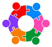 Teamwork puzzle people connected together logo. Vector illustration of teamwork puzzle people connected together logo  on white background Stock Image