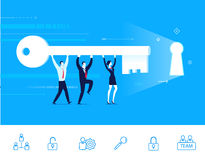 Vector illustration of teamwork. Team go to the door with a key Royalty Free Stock Photo