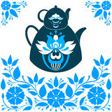 Vector Illustration a Teapot on a Blue background. Vector illustration a teapot on a floral background - stock Royalty Free Stock Images