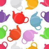 Vector illustration of teapots, seamless pattern. Pottery, clay teakettle. Made in cartoon flat style stock illustration