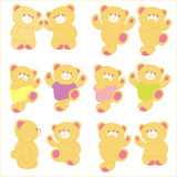 Vector illustration of teddy bear in different Royalty Free Stock Photography