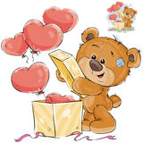 Vector illustration of a teddy bear opens a box with balloons in the shape of a heart