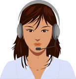 Vector illustration of telephone operator. Beautiful telephone operator with earphone, vector illustration Stock Photography