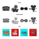 Vector illustration of television and filming icon. Collection of television and viewing stock symbol for web. Isolated object of television and filming symbol royalty free illustration