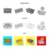 Vector illustration of television and filming icon. Collection of television and viewing stock symbol for web. Isolated object of television and filming symbol vector illustration