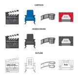 Vector design of television and filming logo. Collection of television and viewing stock symbol for web. Vector illustration of television and filming icon. Set vector illustration