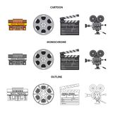 Vector illustration of television and filming icon. Set of television and viewing stock vector illustration. Isolated object of television and filming symbol royalty free illustration