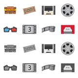 Vector illustration of television and filming logo. Set of television and viewing stock symbol for web. Isolated object of television and filming icon royalty free illustration