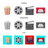 Vector design of television and filming sign. Collection of television and viewing stock symbol for web. Vector illustration of television and filming logo. Set stock illustration