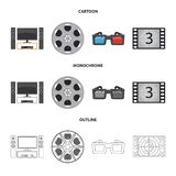 Vector design of television and filming icon. Collection of television and viewing vector icon for stock. Vector illustration of television and filming symbol royalty free illustration