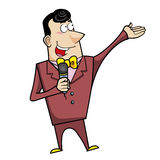 Cartoon host emcee with microphone Stock Image
