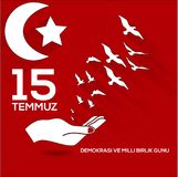 Vector illustration. 15 Temmuz demokrasi ve milli birlik gunu. Translation from Turkish : July 15 the democracy and national unity. Day. Veterans and martyrs of royalty free illustration