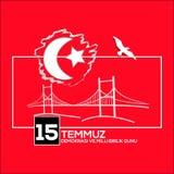 Vector illustration. 15 Temmuz demokrasi ve milli birlik gunu. Translation from Turkish : July 15 the democracy and national unity. Day. Veterans and martyrs of vector illustration