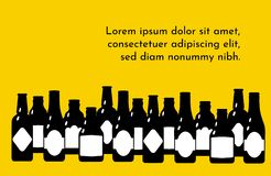 Vector illustration template with beer bottles. Black silhouette on a bright yellow background vector illustration