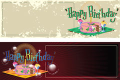 Vector illustration. Template birthday greetings. Cake, ice crea Royalty Free Stock Photo