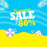 Summer Sale up to 80% with two umbrella background layout for banners. Vector illustration template. blue and yellow color stock illustration