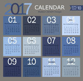 Vector illustration template of 2017 calendar. Vector illustration template of modern denim color 2017 calendar Stock Photography