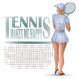 Vector Illustration. Template flyers. Beutiful girl playing tennis Stock Photos