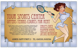 Vector Illustration. Template flyers. Beutiful girl playing tennis Royalty Free Stock Photos