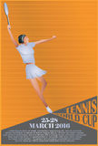 Vector Illustration. Template flyers. Beutiful girl playing tennis.  vector illustration