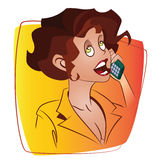 Vector Illustration. Template flyers. Funny girl talking on the phone Royalty Free Stock Photo