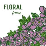Vector illustration template of greeting card with deep purple floral frame stock illustration