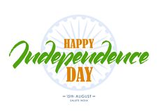 Template of greeting card with hand lettering of Happy Independence Day. 15 th August. Salute India. Vector illustration: Template of greeting card with hand stock illustration