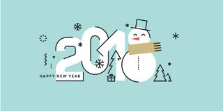New Year 2018 flat line style greeting card Stock Image