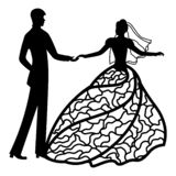 Vector illustration. Template with With the groom and the bride. Pattern for the laser cut, boy and girl. The dancing couples. stock illustration