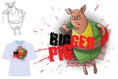 Vector illustration. Template t-shirts. Bigger Pig Royalty Free Stock Photography
