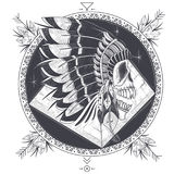 Vector illustration of a template for a tattoo with a human skull in an indian feather hat. Vector illustration of a round template for a tattoo with a human Royalty Free Stock Image