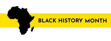 Vector illustration template for title with yellow stripe. Black history month. African continent silhouette stock illustration