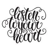 Listen to your heart hand lettering doodle background. Inspiration quote. Greeting card design template. Can be used for. Vector illustration, template for your stock illustration