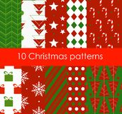 Vector illustration ten Christmas different seamless patterns. Bright colors texture for wallpaper, web page background. Wrapping paper, flat style royalty free illustration