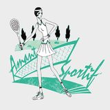 Tennis girl naive style. Vector illustration of a tennis girl naive style Stock Image