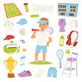 Vector illustration tennis player and game symbols Stock Photo