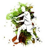 Vector illustration of tennis player on watercolor background royalty free illustration