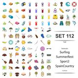 Vector illustration of tent, swimsuit, surfing, summer, rest, sport spain country South Korea icon set. Vector illustration of tent, swimsuit, surfing, summer royalty free illustration