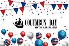 Vector illustration text Columbus Day with boat and American flag balloons Royalty Free Stock Image