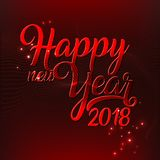 Vector illustration text of happy new year 2018 red colors. Decoration of a poster or postcard, banner Royalty Free Stock Photography