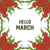 Vector illustration text hello march with beautiful flower frames royalty free illustration
