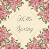Vector illustration with text hello spring Stock Photo