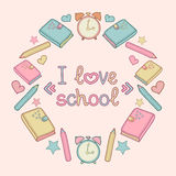 Vector illustration with text i love school in circle frame with school elements,education icons. Cute school background. Vector illustration with text i love Stock Photo