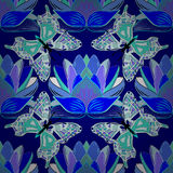 Vector illustration texture. Blue background with blue lotus and butterflies. Vector illustration Stock Photos