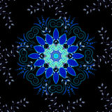 Vector illustration texture. Blue mandala on black background. Vector illustration Stock Photos